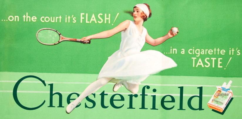 Reklameannonse for sigaretter fra 1925. Annonsen er illustrert med en tegning av en ung kvinne som spiller tennis og inneholder et slagord som skal selge produktet.