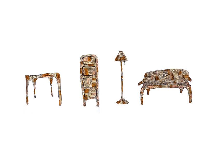 Skisser – et bord, en kommode, en lampe og en sofa laget av restavfall – tegnet av designer er Amy Hunting.
