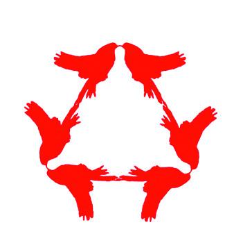 Illustrasjon som viser fugler speilet om tre symmetriakser hvor vinkelen mellom aksene er 120 grader.