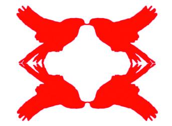 Illustrasjon som viser to fugler speilet om en loddrett akse. Fuglene er også speilet om en vannrett akse.