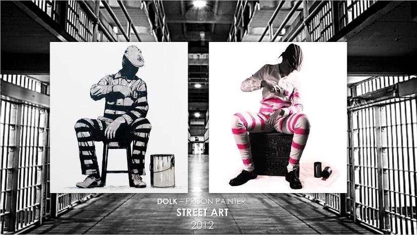 : Fotografi av «Artfie etter Prison Painter». En elev fra Ener ungdomsskole har brukt kunstverket «Prison Painter» av Dolk som utgangspunkt og gjenskapt bilde ved å sette seg selv inn i kunstverket. Kunstverket og artfien er satt opp ved siden av hverandre.