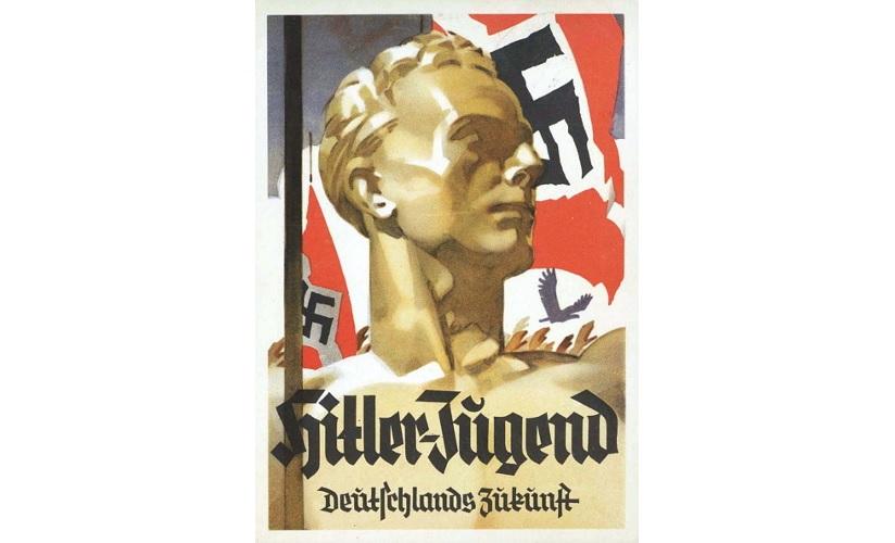Propagandaplakat fra Nazi-Tyskland, 1942. Plakaten er illustrert med en tegning av en ung mann. Flagg med hakekors vaier i bakgrunn. Plakaten støttes av tekst som oppfordrer unge til å bli med i ungdomsorganisasjonen til de tyske nasjonalsosialistene.