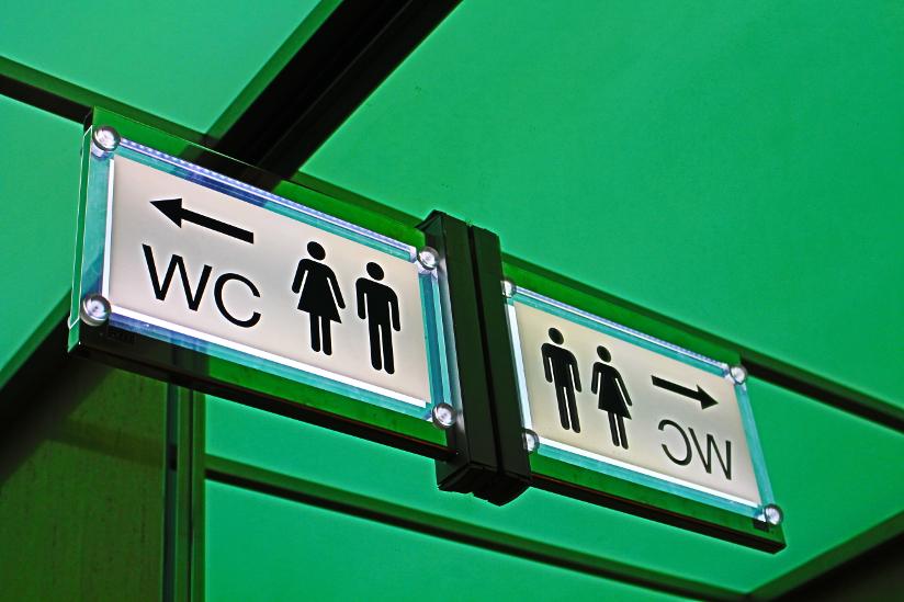 Fotografi av et toalettskilt, formet som et piktogram. Piktogrammet består av enkle bilder av en mann og en kvinne samt en pil som angir retning. WC er også oppført som tekst på skiltet.