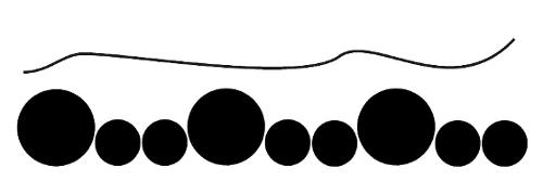 Illustrasjon som viser hvordan to forskellige lyder kan se ut hvis de spilles samtidig. Det første eksemplet er en sammenhengende og ujevn strek, men det andre viser svarte sirkler i varierende størrelser.