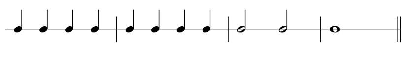 Illustrasjon av noterekke med taktstreker mellom notene.