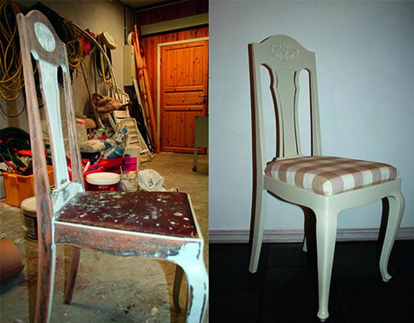 Todelt fotografi. Bilde til venstre viser gammel stol før fornyelsen. Bilde til høyre viser det endelige resultatet. Stolen er malt hvit og har et rutete trekk på seteplaten.