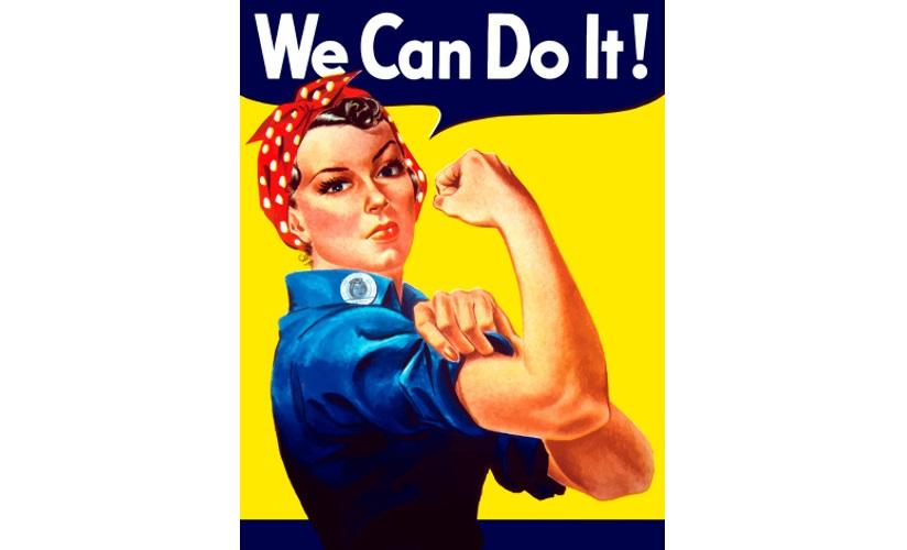Propagandaplakat – Rosie the Riveter – fra Amerika, 1942. Plakaten er illustrert med en tegning av en kvinne i arbeidsantrekk som bretter opp ermene og spenner muskler. Plakaten støttes av tekst og oppfordrer kvinner til å arbeide i krigsindustrien.