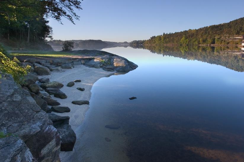 Fotografi av en innsjø med strand og svaberg i forgrunn. Innsjøen er ellers omkranset av trær som ligger i et kuppert landskap.