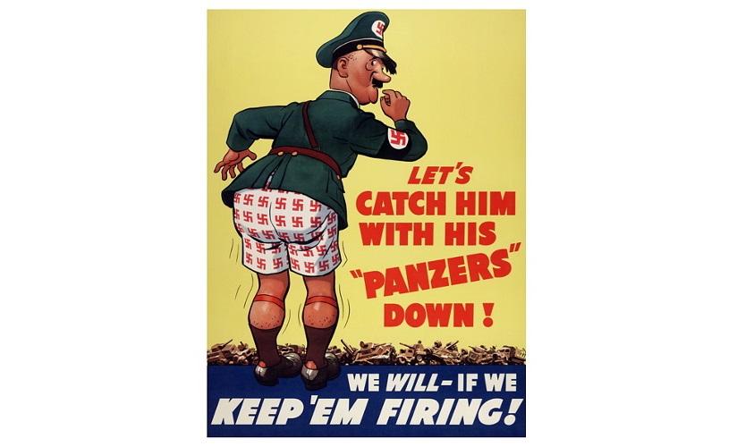 Propagandaplakat fra Amerika, 1943. Plakaten er illustrert med en tegning av Adolf Hitler iført underbukse med hakekorsmønster. Ødelagte tanks ligger i bakgrunn. Plakaten støttes av tekst som oppfordrer til internasjonal samhandling for å ta Hitler til fange.