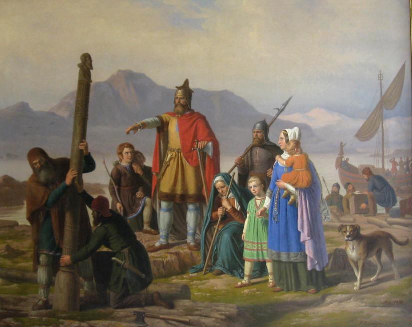 Maleri av Peder Raadsig, 1850, som viser Ingolfr Arnarson peke på hvor en av høysetestoplene skal reises etter at den har drevet i land.