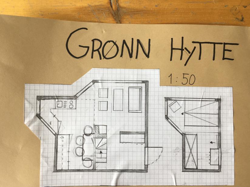 Fotografi av en plantegning av interiør i en hytte med standardiserte symboler.