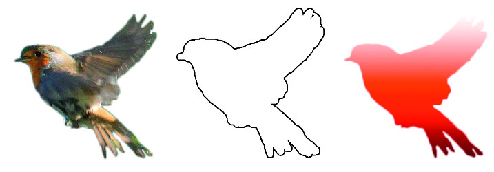 Illustrasjon som viser tre forskjellige fugler. Fuglene har samme form, men er ulike når det gjelder detaljer. Den første fulgen er et fotografi av en rødstrupe. Den andre fuglen har tislvarende form, men er hvit med sorte konturlinjer. Den tredje fuglen er en ensfarget versjon av fotografiet i rødt.