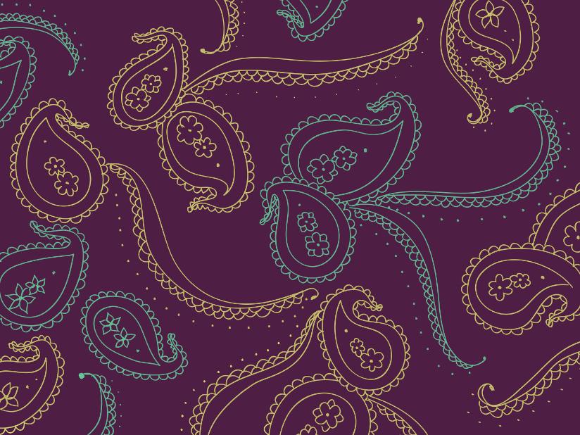 Fotografi med nærbilde av paisleymønster.