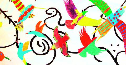 Fotografi av Fuglebilde. Elever fra Teigar ungdomsskole har brukt forenklede og stiliserte former av fugler med forskjellige farger for å lage et kunstbilde.