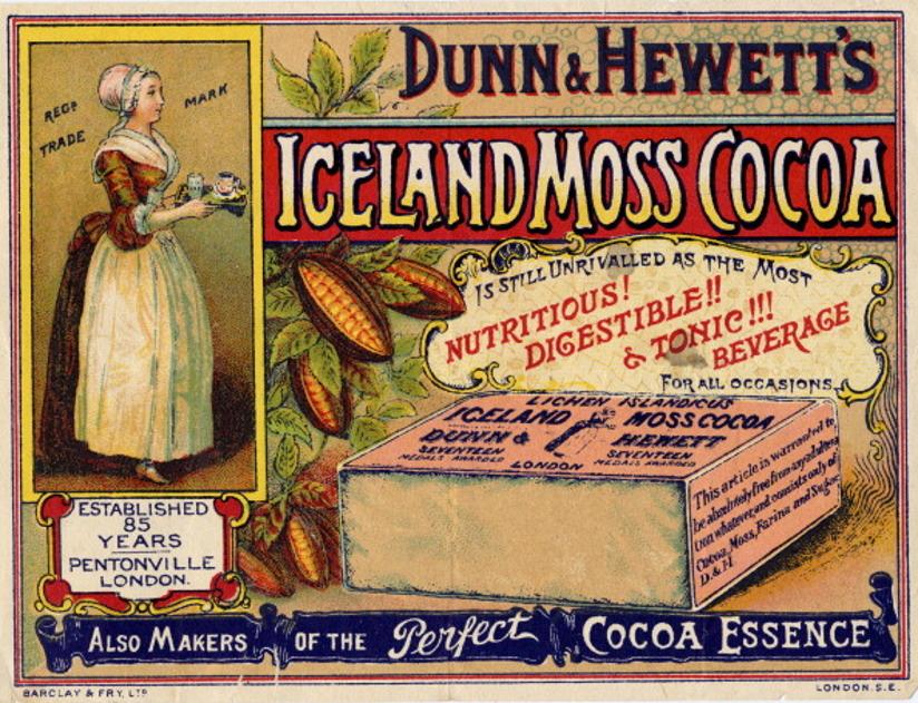 Reklameannonse for kakao fra 1890. Annonsen er todelt og inneholder en tegning av en kvinne som serverer kakao samt en tegning av emballasjen. Annonsen støttes av tekst som blant annet beskriver produktets egenart.
